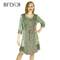 Women Summer Dress 2015 Fashion Vintage Leopard Women S Clothings Plus Size Hollow Embroidery A Line