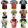 Clássico Anime Dragon Ball Z Super Saiyan T camisas dos homens das mulheres Hipster 3D camiseta Goku / Vegeta camisetas verão tees Casual tops