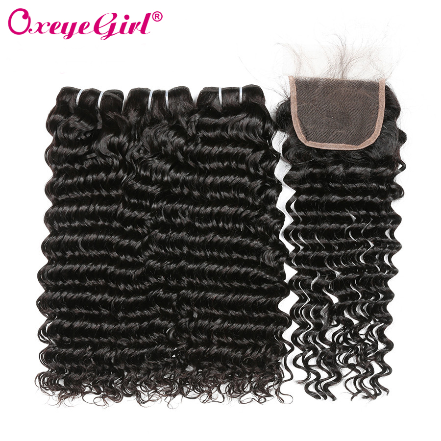 Oxeye girl Deep Wave Bundles With Closure Brazilian Hair Weave Bundles 100 Human Hair 3 Bundles