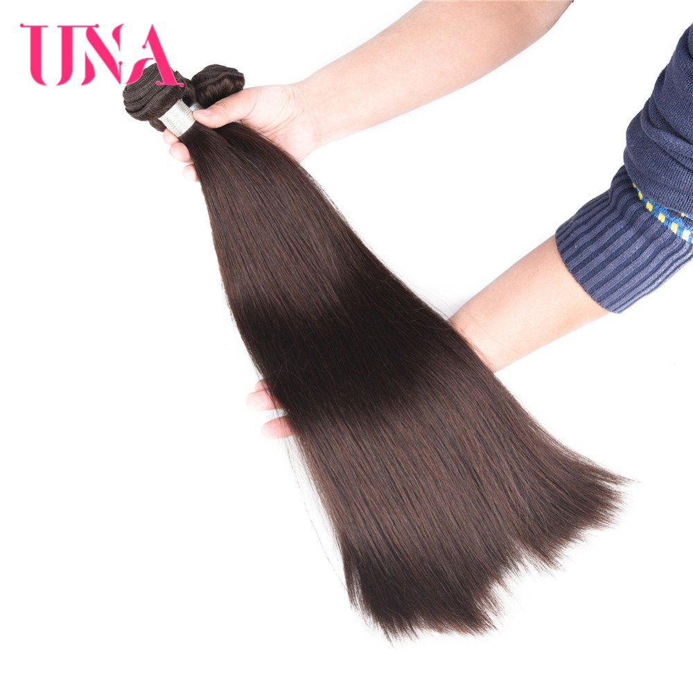 UNA Brazilian Hair Weaves 1 Piece # 2 Brasilian Straight Non-Remy - Mänskligt hår (svart) - Foto 4