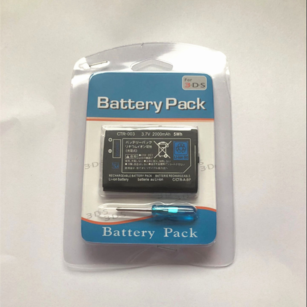 Wholesale Free shipping CTR 003 3.7V 2000mAh 5Wh rechargeable <font><b>battery</b></font> pack for <font><b>2DS</b></font> 3DS 10pcs/lot image