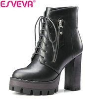 ESVEVA 2018 Lace Up Western Style Women Boots Platform PU Autumn Shoes Thick High Heel Winter Shoes Lady Ankle Boots Size 34 42