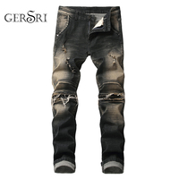 Gersri New Men Brand Clothing Casual stretch keen patch with wrinkle hole Skinny Slim Biker Jeans Denim ripped Pants Trouser