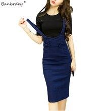 Летняя женская джинсовая юбка-карандаш с перекрестными ремешками, посылка на бедрах средней длины, Женская юбка с бантом, тонкая синяя юбка с высокой талией, femme faldas