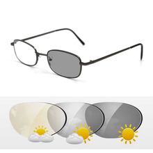 Intelligent Photochromic Bifocal Reading Glasses Metal Frame Unisex Reader Sunglasses Look Near Far Presbyopic Spectacles Gafas