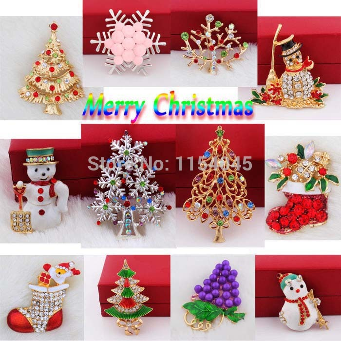 12 Pieces/lot Mix Free Shipping Merry Christmas Gift Alloy Pin Crystal Jewelry Rhinestone Brooch for Women