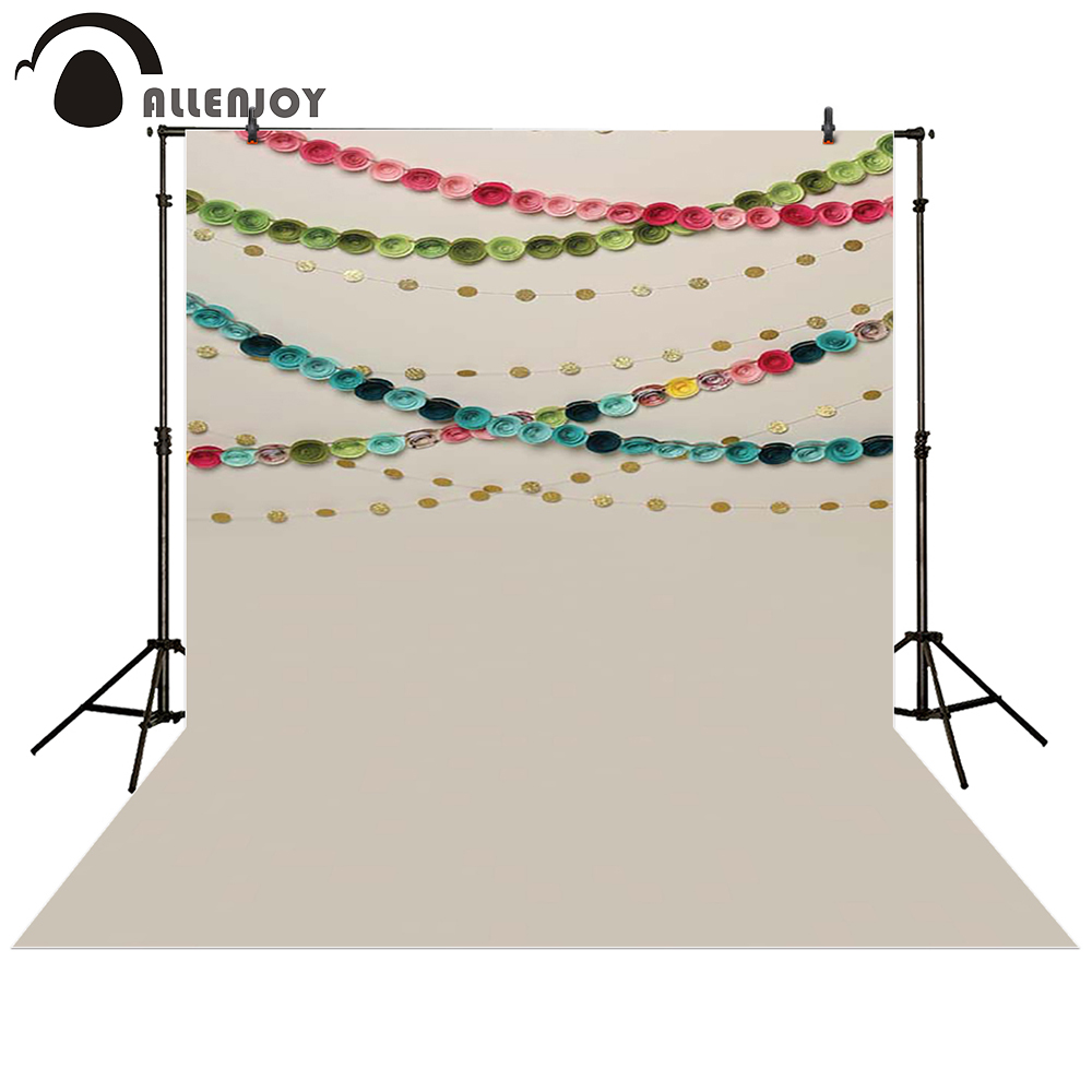 Allenjoy photography backdrop pink rose Flower paper gold circle colorful baby shower children background photo studio photocall сумка tommy hilfiger am0am00806 002 black