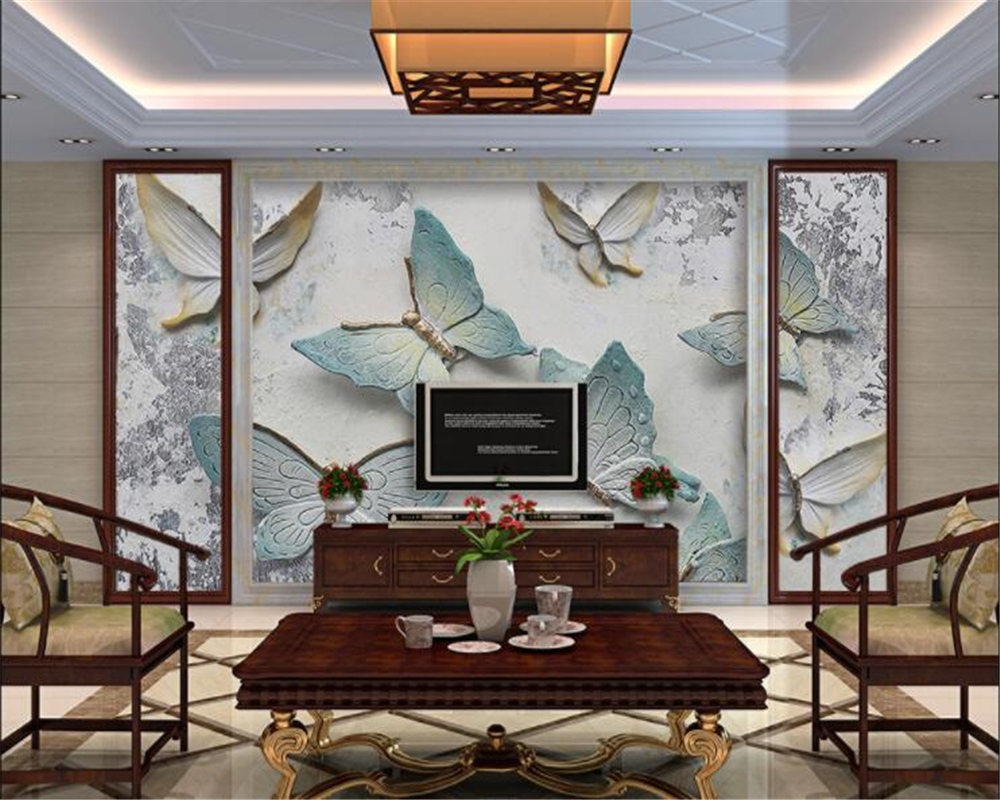 beibehang 3d wallpaper Personality 3D butterfly relief background wall Jane Europe suitable for interior decoration wallpaper in Wallpapers from Home Improvement
