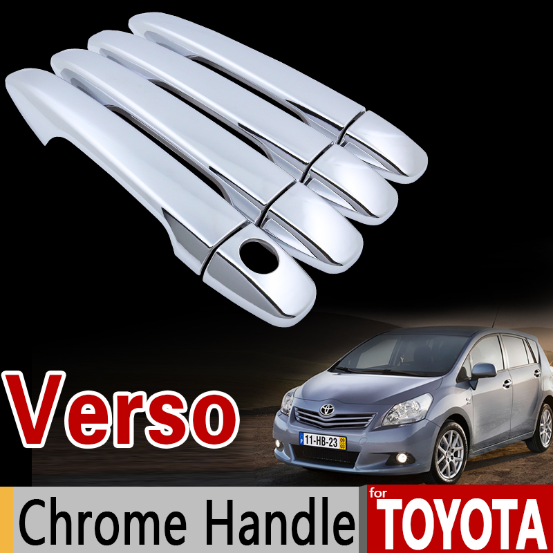 for Toyota Verso 2009 - 2016 AR20 Chrome Handle Cover Trim Set 2010 2011 2012 2013 2014 2015 Accessories Stickers Car Styling for suzuki splash 2007 2014 chrome handle cover trim set of 4door 2008 2009 2010 2011 2012 2013 accessories sticker car styling