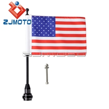 Motorcycle Black Flagpole Rear Side Mount Flag USA Flag For Harley Cafe Racer Chopper Bobber