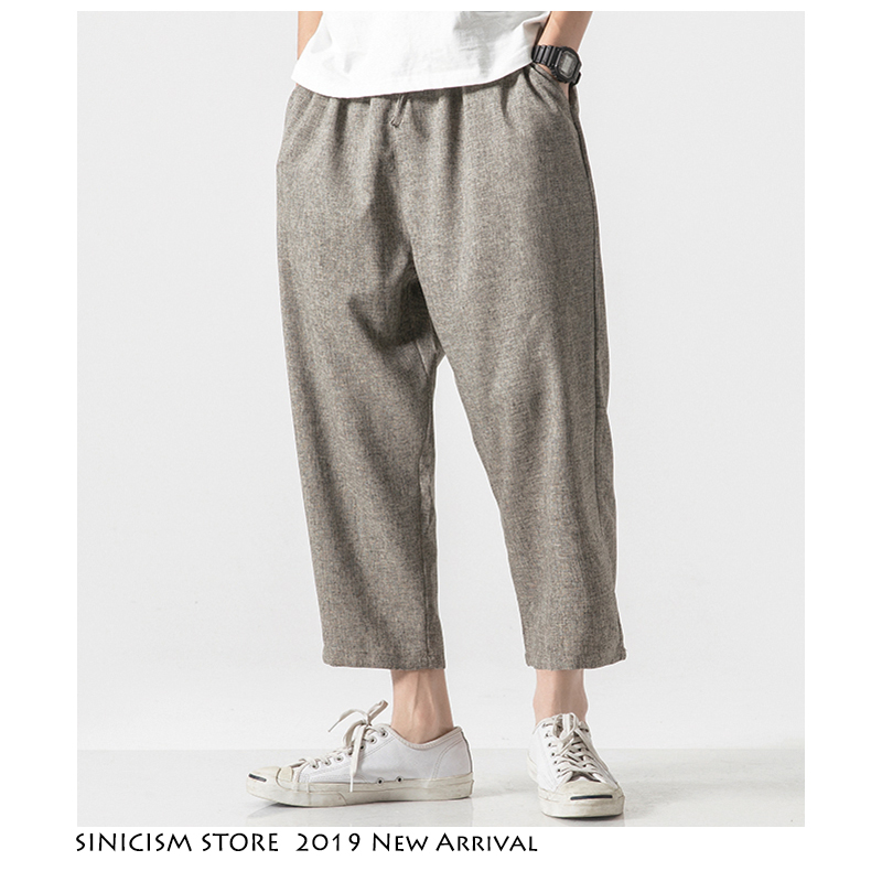 Sinicism Store Men Oversize Wide Leg Pants 2019 Mens Straight Casual Ankle-Length Pants Chinese Style Summer Male Harem Pants