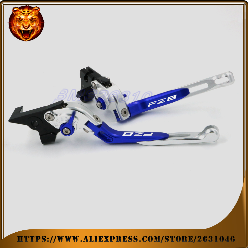 Motorcycle Adjustable Folding Extendable Brake Clutch Lever For YAMAHA FZ8 FZ 2011 12 2013 NEW STYLE FREE SHIPPING BLACK BLUE cnc motorcycle adjustable folding extendable brake clutch lever for yamaha xt1200z ze super tenere 2010 2016 2012 2013 2014 2015