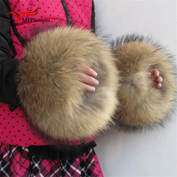 Nature Genuine Fur Cuff Oversize Real Raccoon Fur Boot Cuff Sleeves Sleeve For Women Winter Coat Downcoat X#2