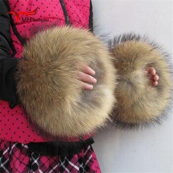 Nature véritable fourrure manchette surdimensionné réel fourrure de raton laveur botte manchette manches manches pour femmes hiver manteau Downcoat X #2