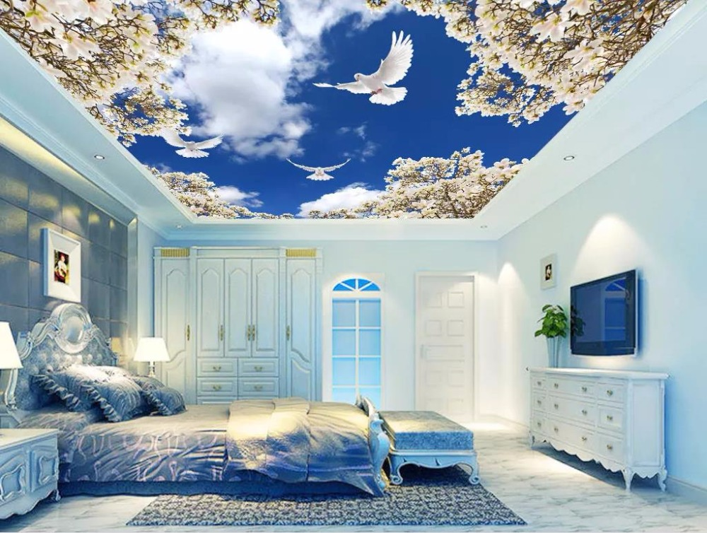 3d Ceiling Wallpaper Blue Sky White Clouds Wallpaper For Wall 3d