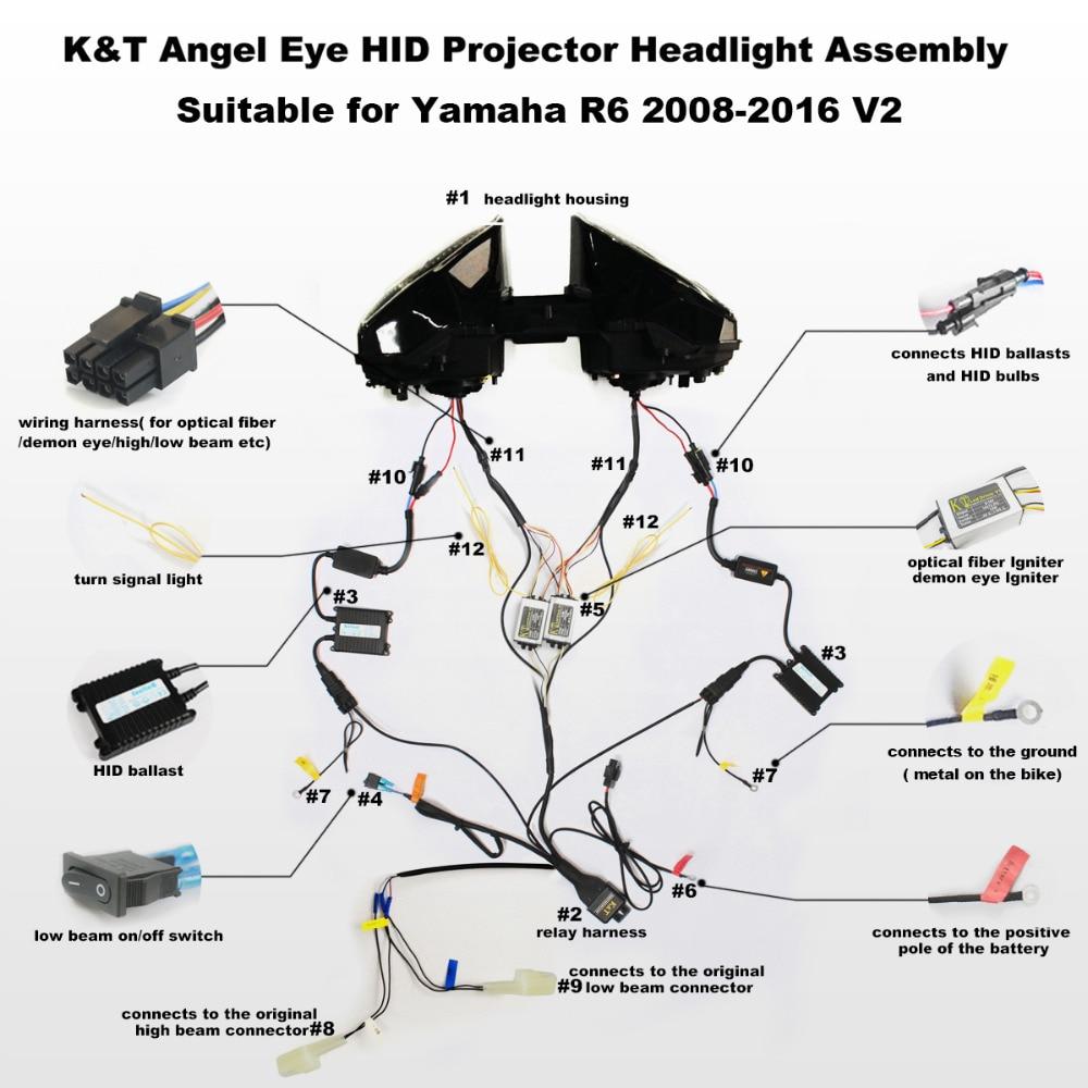 kt headlight for yamaha yzf r6 2008 2016 led optical fiber blue rh aliexpress com xenon headlights wire diagram led light wiring diagram [ 1000 x 1000 Pixel ]