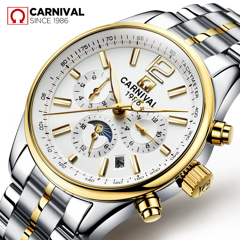 relogio masculino 2017 CARNIVAL Top Brand New Mechanical watches Men Fashion Waterproof Luminous Watch with Calendar Moon Phase