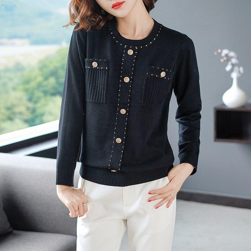 Boutons pulls pulls femmes tricoté Slim extensible pull pull femme manches longues hauts vêtements 0723-115