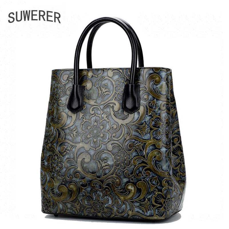 SUWERER New women bag Superior cowhide women Genuine Leather bags luxury Hand Embossing Flowers designer top Leather Art Bags suwerer women genuine leather bags 2018 new fashion handmade drawing plum flower top cowhide luxury designer women leather bags
