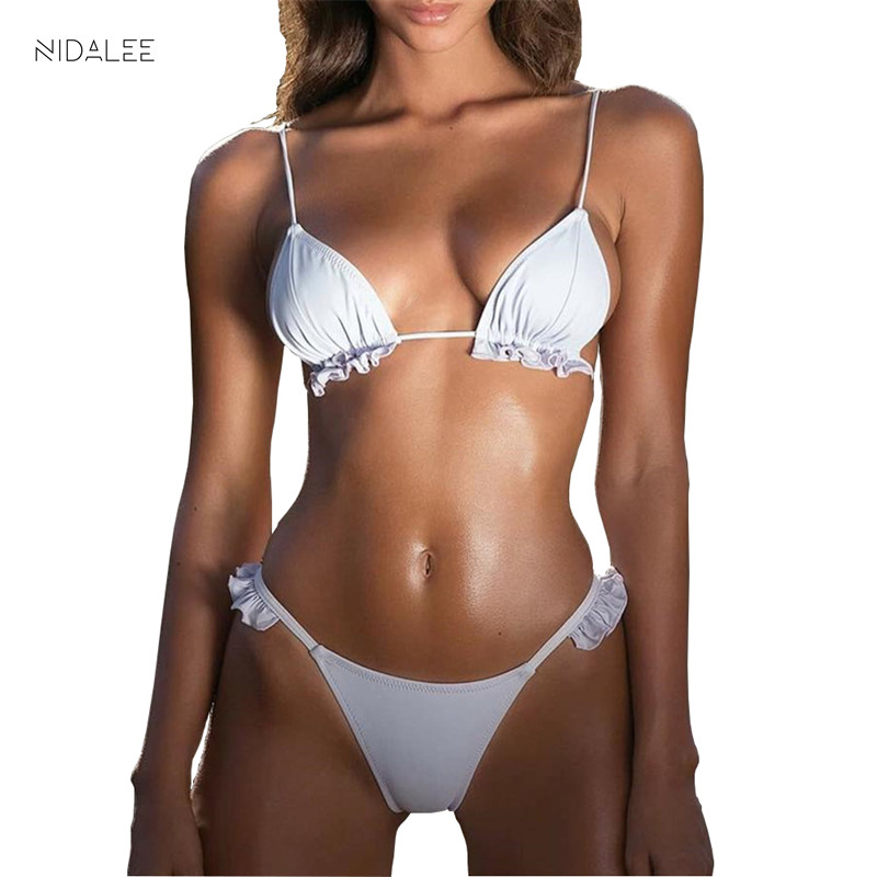 NIDALEE Sexy Low Waist Bikini Women Swimwear Push Up Swimsuit Bathing Suit Bikini Set Solid Thong Biquinis Beach Wear Female in Bikinis Set from Sports Entertainment