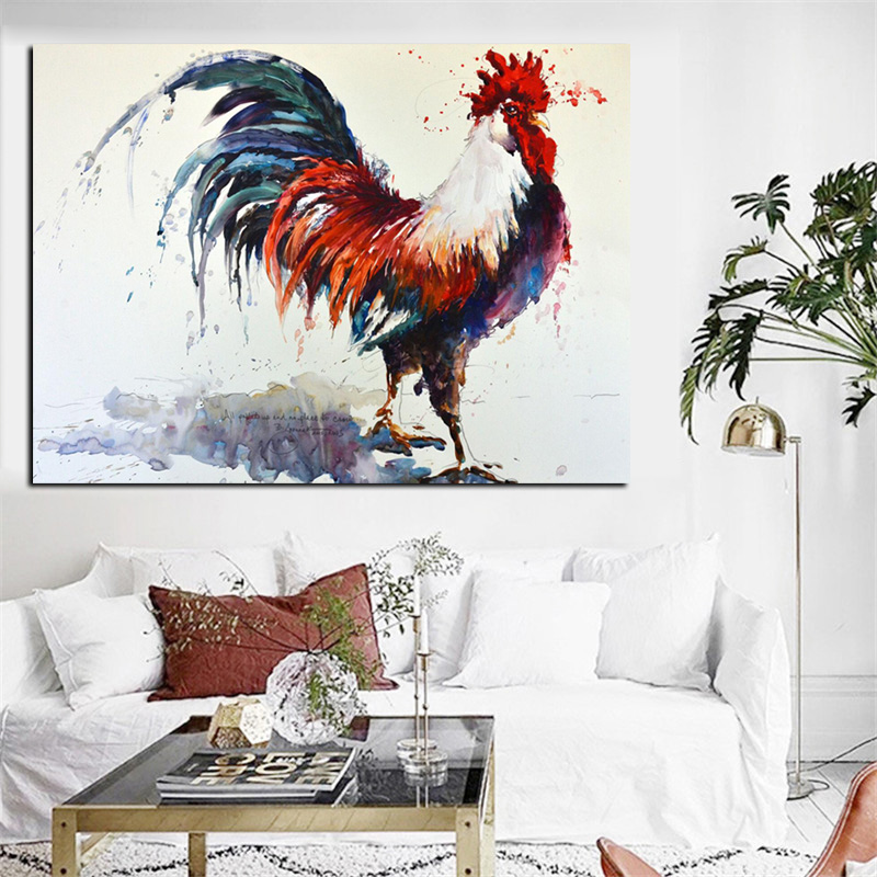 Big size print abstract rooster watercolor oil painting on - Oil painting ideas for living room ...