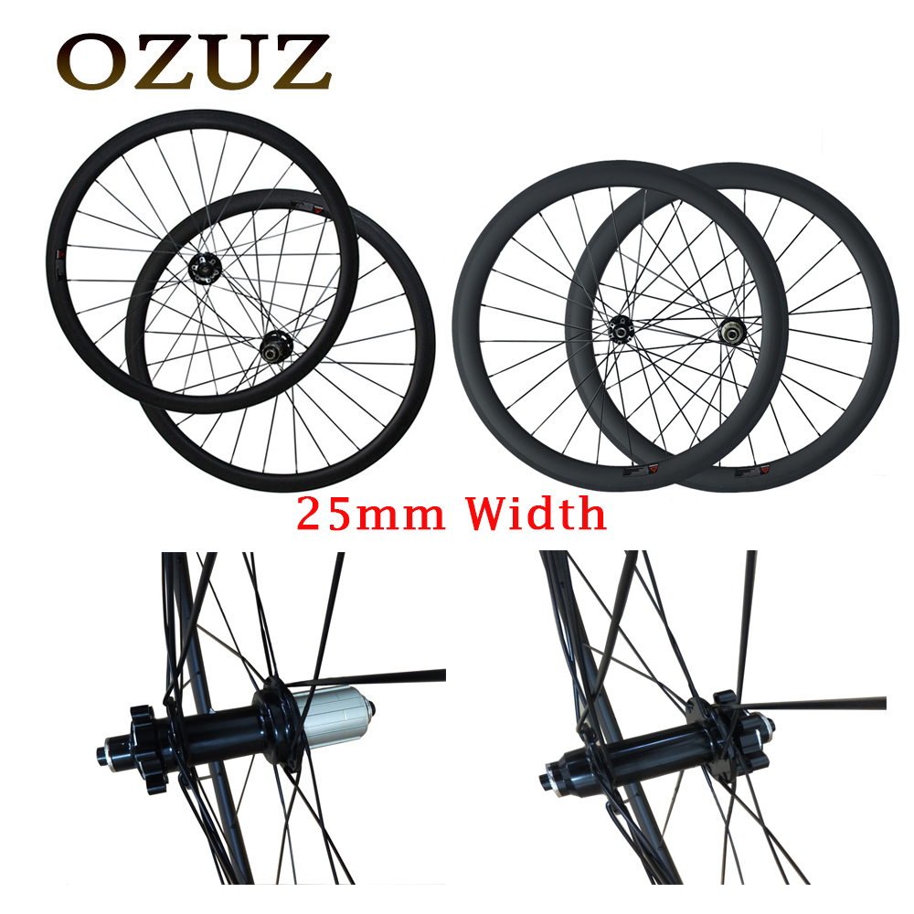 25mm width road disc brake cyclocross bike wheel 38mm 50mm deep carbon wheels 3k matte clincher