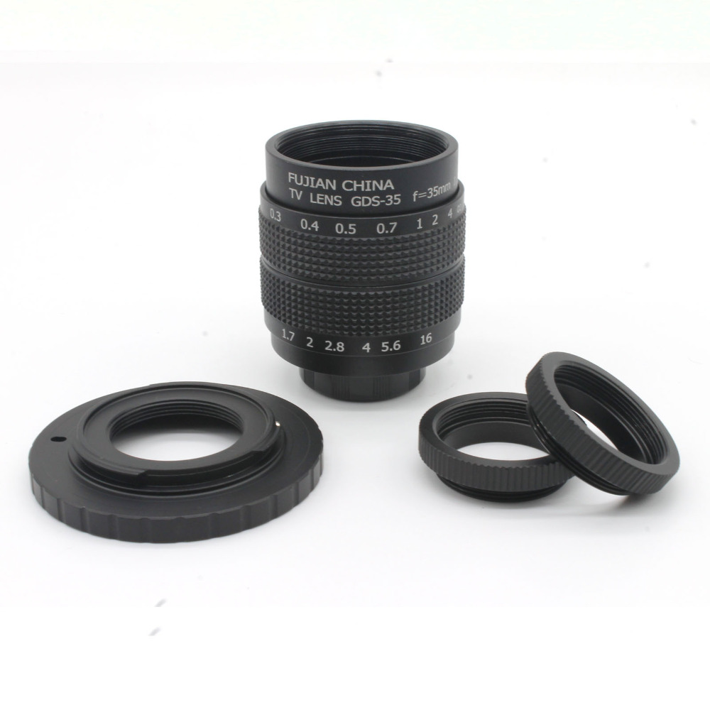 ⑧Negro 35mm F1.7 CCTV TV Movie lente + montaje para EOS M + marco ...