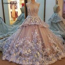 LS85209 Evening Dresses 3D Flowers Lace Long Grey Corset Party Dress Ball Gown Vestidos De 15 Anos Robe De Soiree Real Photos