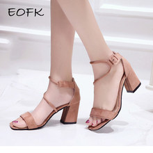EOFK 2019 Ankle Strap Heels Women Sandals Summer Shoes Women Open Toe Chunky High Heels Party Dress Sandals(China)