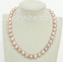 Selling  pure 17″ 12mm purple spherical freshwater pearls necklace j10472