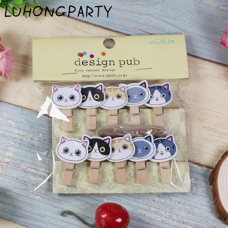10PCS Cute Cat Animal Kawaii Pet Wooden Clothespin Office Supplies Photo Craft Clips DIY Clothes Paper Peg Party Decoration in Party DIY Decorations from Home Garden