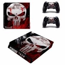 Punisher PS4ผอมสติกเกอร์ผิวสำหรับSony PlayStation 4คอนโซลและ2ตัวควบคุมPS4 Slim Skinsสติกเกอร์รูปลอก