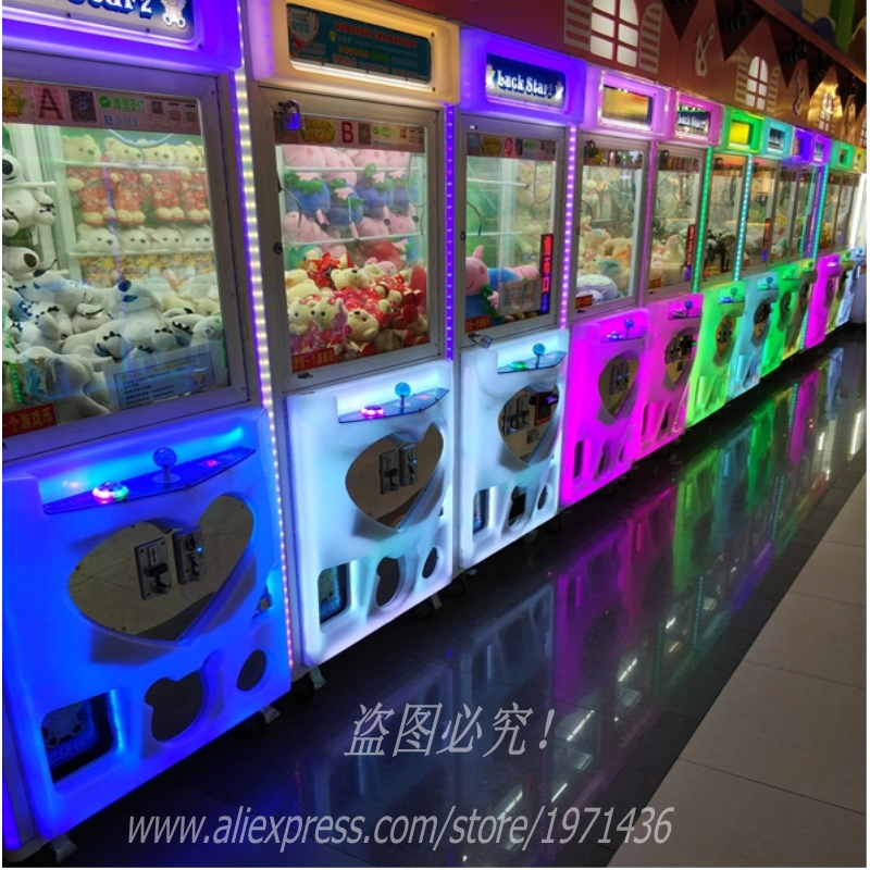 Coins Token Operated Games Lighted Claw Machine Plush Toy Cranes Machine For Game Center composite suite new toys dolls crane claw machine excavator simulation vending machine for sale gift machine in operated coins