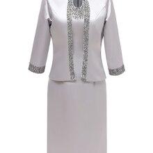 Mujer 2 piezas elegante satén lentejuelas Madre de la novia vestido longitud de la rodilla con chaqueta para el novio de la boda 2019