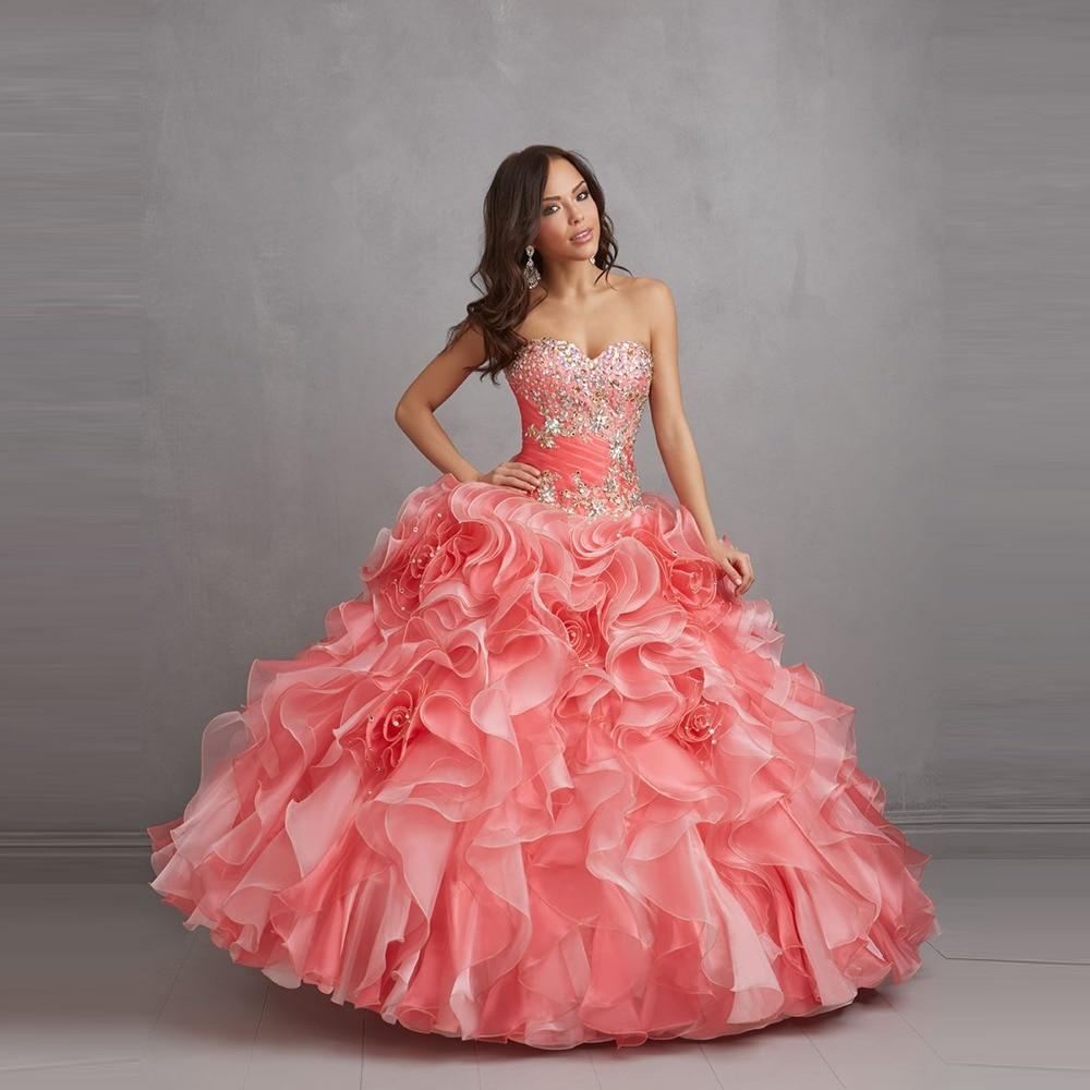 Hermosa Pink Quinceanera Vestidos novia plateado y acc cristales ...
