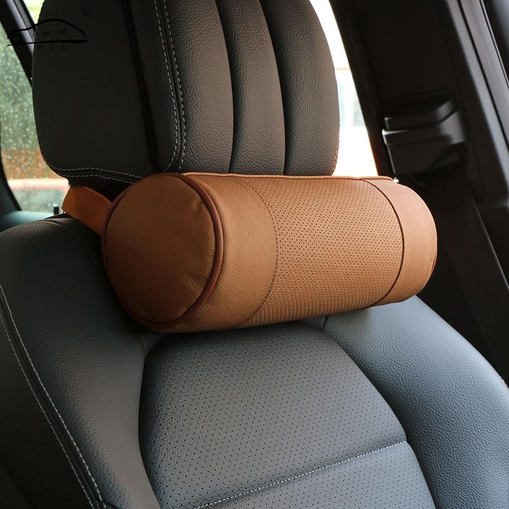 Memory Foam Car Neck Pillow / Äkta Läder Auto Cervical Round Roll - Bil interiör tillbehör - Foto 2