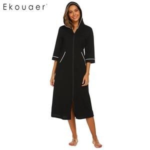 Image 3 - Ekouaer Women Hooded Nightgown Long Home Dress Solid Hooded Long Sleeve Zipper Robe Nightdress Ladies Sleepwear