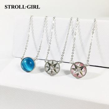 72239e03debe StrollGirl Venta caliente 100% de Plata de Ley 925 brújula collar de ópalo  exquisito ocho estrella colgante de cadena para la joyería de las mujeres