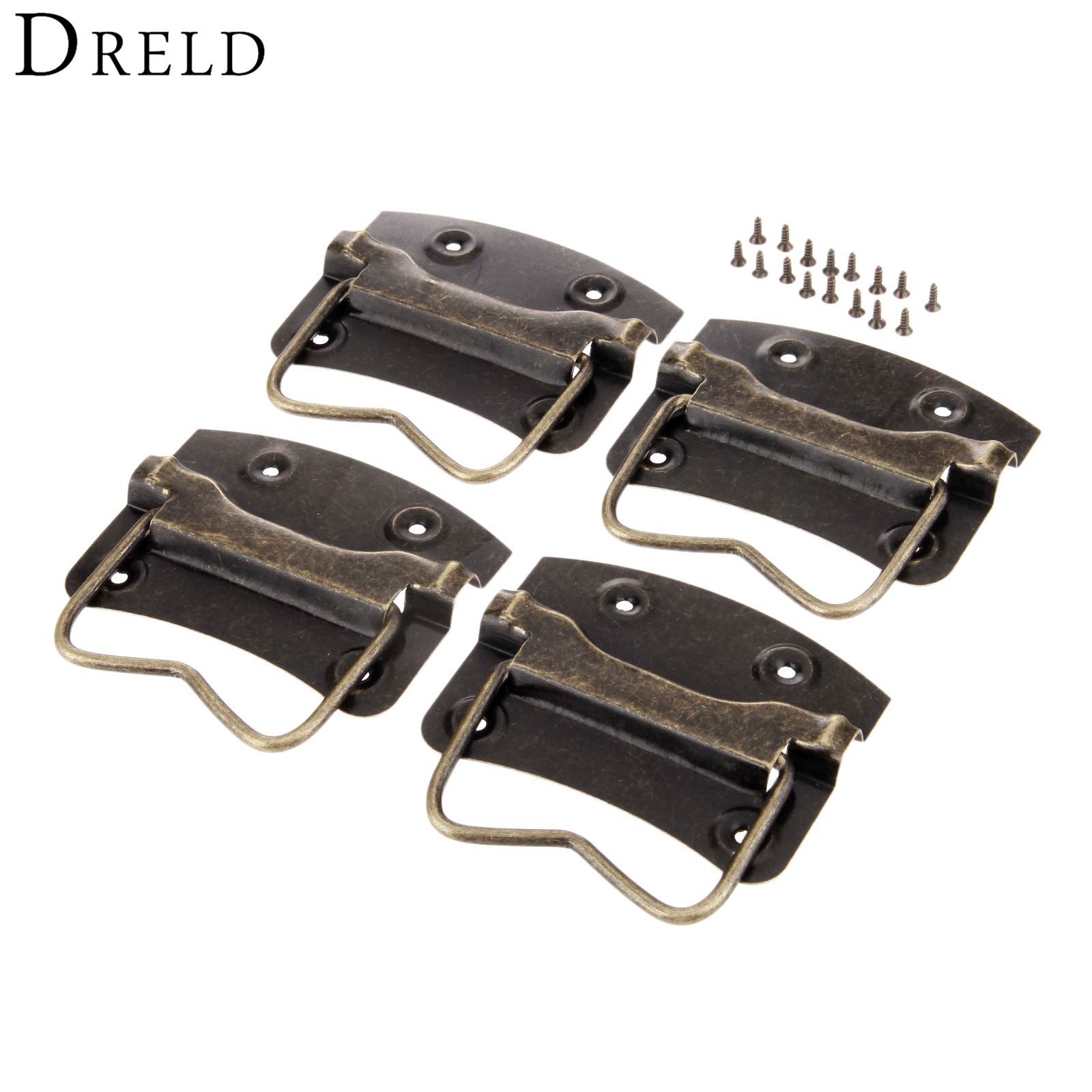 DRELD 4Pc Antique Furniture Handles Wardrobe Door Pulls Dresser Drawer Handles Kitchen Cupboard Handle Cabinet Knobs and Handles l door handle furniture handles black drawer kitchen cabinet door handle grips hole pitch handle pulls