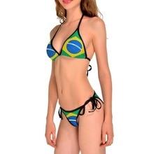 NEW 0050 Sexy Girl Summer Brazil Flag 3D Prints Thongs Bikini Set Swimsuit Swimwear Women Bathing
