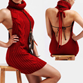 2017 HOT Japanese Super sexy sleeveless knitting leisure women dress lady women within Temptation backless Sweater virgin killer