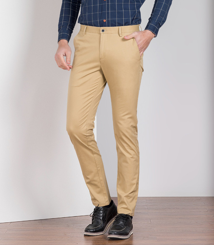 Image 2 - 2019 Summer New Mens Business Casual Pants Fashion Solid Color  Stretch Pants Brand Slim Khaki Trousers Male Plus Size 38 40Casual  Pants
