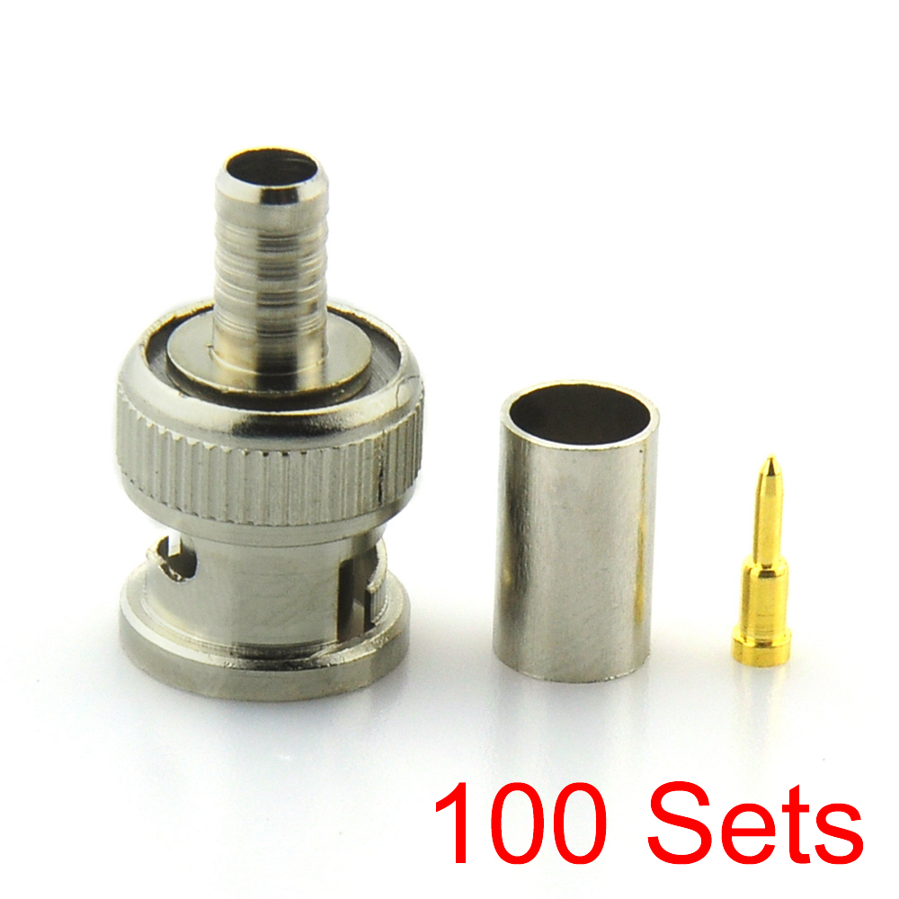 100x BNC Male crimp Connector Plug for RG59 coaxial Cable Coupler CCTV Adaptor 20pcs bnc male to bnc male plug cables double straight crimp rg58 connector