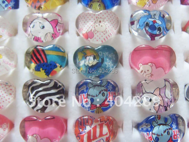 Wholesale Mixed Lots 50PCS Resin Lucite Heart Shape Cartoon Children Rings,Girl's Gifts