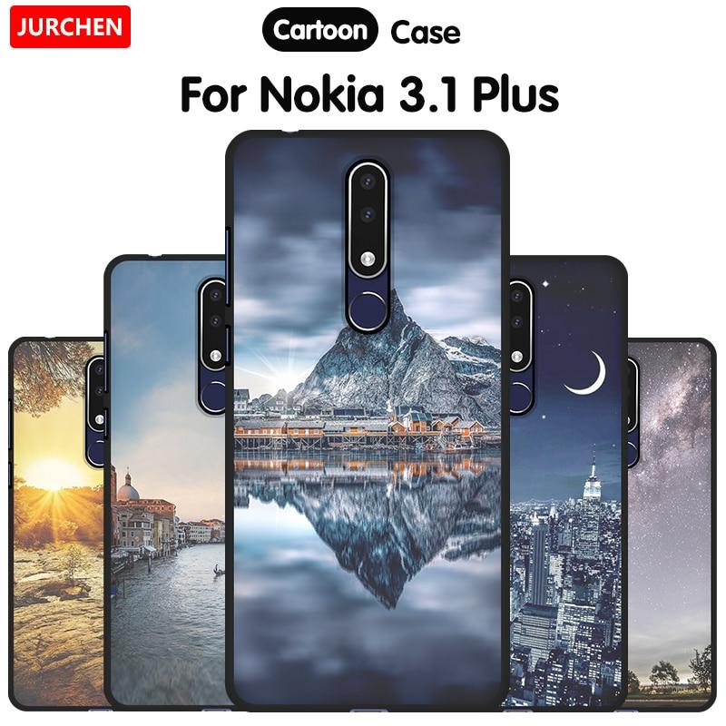 JURCHEN Soft Case For Nokia 3.1 Plus Phone Case Beautiful Patterned Soft Silicone Cover For Nokia 3.1 Plus Case Nokia3.1 3.1Plus
