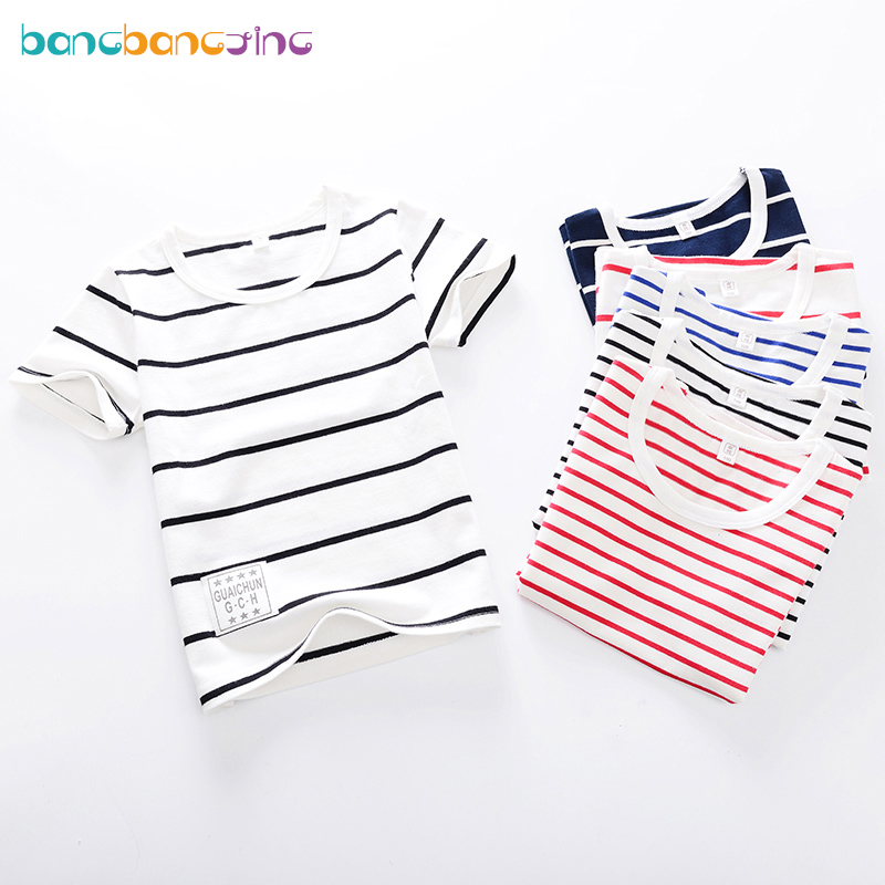 Summer Short Sleeve Boys Tees Cotton Children tshirts for Girl Child Kids t Shirts 2-12T 2018 Striped Kids t-shirts Baby Girls