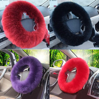 New Cute 38cm Long Wool Plush Steering Wheel Covers Hubs Winter Fluffy Warm Stretch Inner Rubber