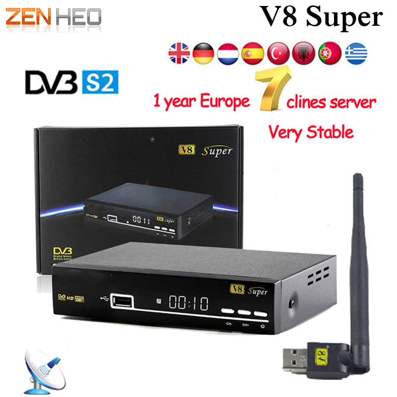 1 Year Free Europe Clines Server V8 Super Satellite Receiver DVB-S2 HD Full 1080P +1pc USB WIFI Support powervu biss key dhl free ipm psi infosat 3in1 dvb s2 hd satellite receiver for thailand malay burma laos kampuchea
