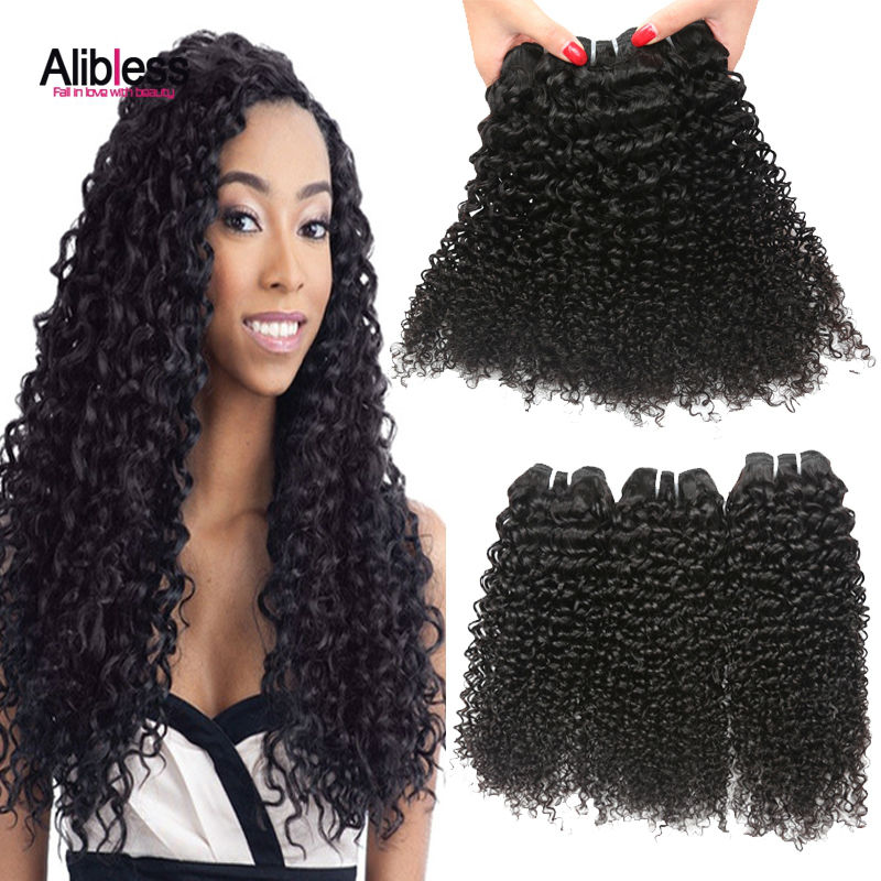 Alibless Hair Products Eurasian Curly Virgin 3 bundles,7A Deep Curly,European Kinky