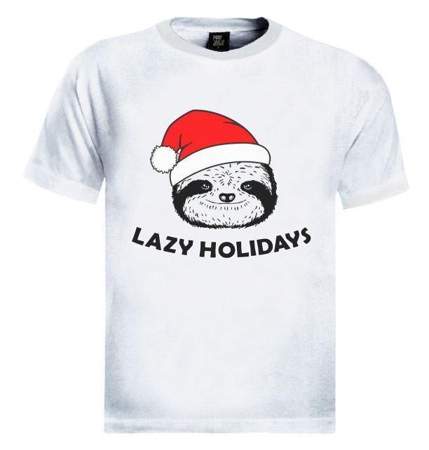 Lazy Holidays Sloth Christmas T-Shirt XMAS Party UGLY Sweater Gift Present Santa
